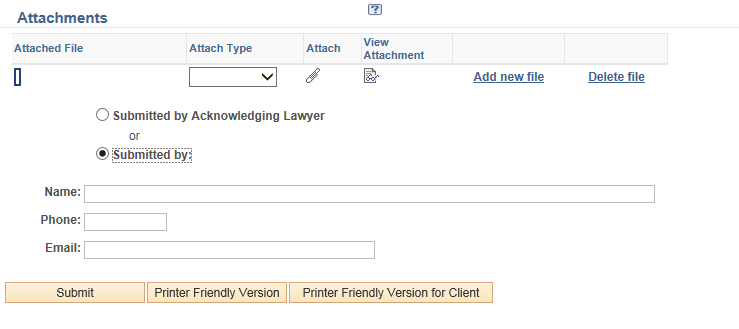 Screenshot highlighting the submitted by acknowledging lawyer radio button