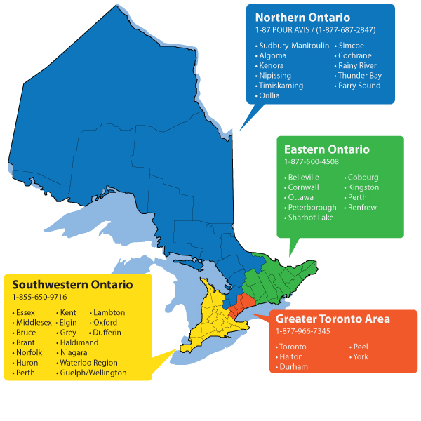 Image of Ontario highlighting the regions. Contact information shown on the image is available above