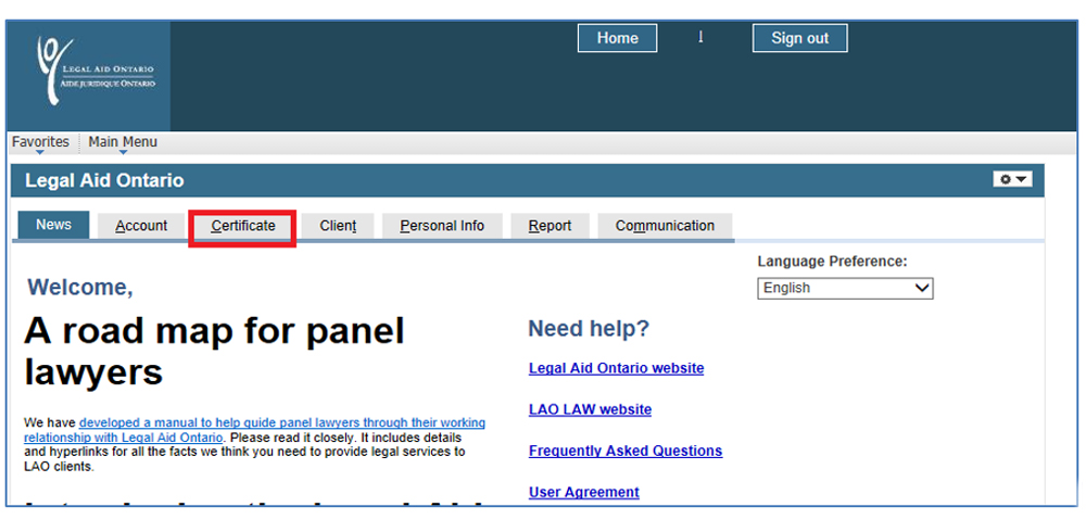 Screenshot of the Legal Aid Online welcome page. The certificate option on the top navigation menu is highlighted.