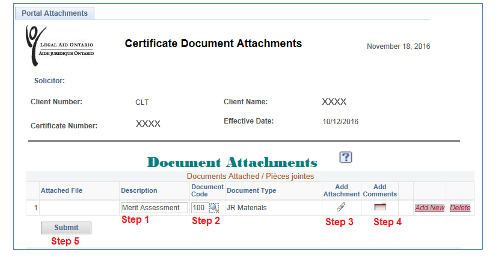Screenshot of the Certificate Documents Attachments page. The fields and buttons relating to the five steps are highlighted as follows: Step 1 is the Description field. Merit Assessment has been typed in as an examle. Step 2 is Document Code. Step 3 is Add Attachment. Step 4 is Add Comments. Step 5 is Submit.