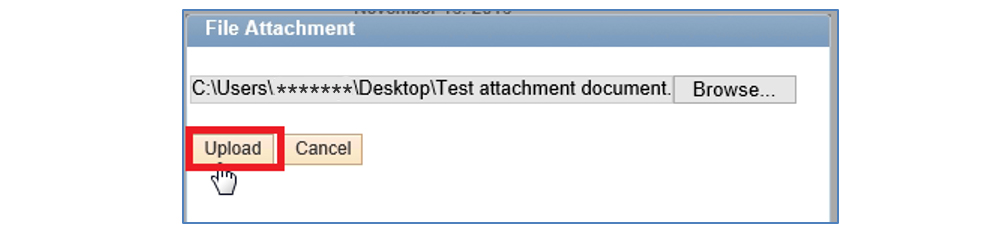 "Screenshot of the ""Look-Up Documents"" file attachment window. The upload button is highlighted."