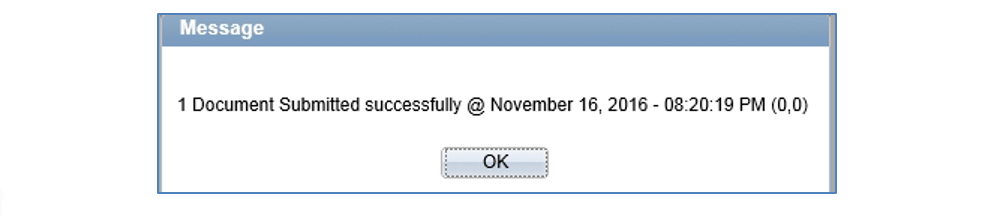 "Screenshot of the successful submission message window. Message reads ""1 document submitted successfully @ November 16, 2016 – 08-20-19 PM (0,0)"""