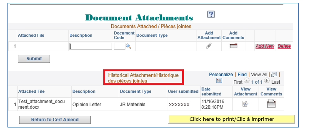Screenshot of the historical attachments section showing the file submitted to the system.