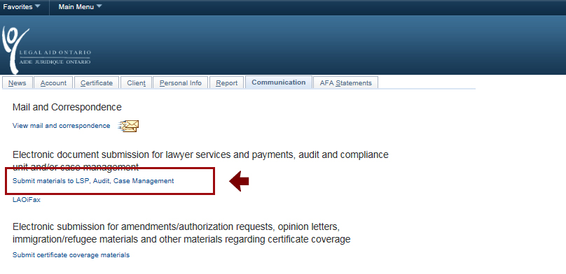 Screenshot highlighting the 'Submit materials to LSP, Audit, Case Management' button